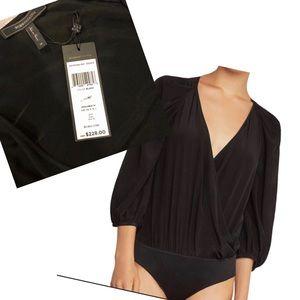 BCBG Bodysuit Black Pleated-Shoulder Faux-wrap
